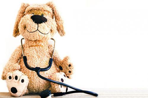 Stuffed dog wearing stethoscope