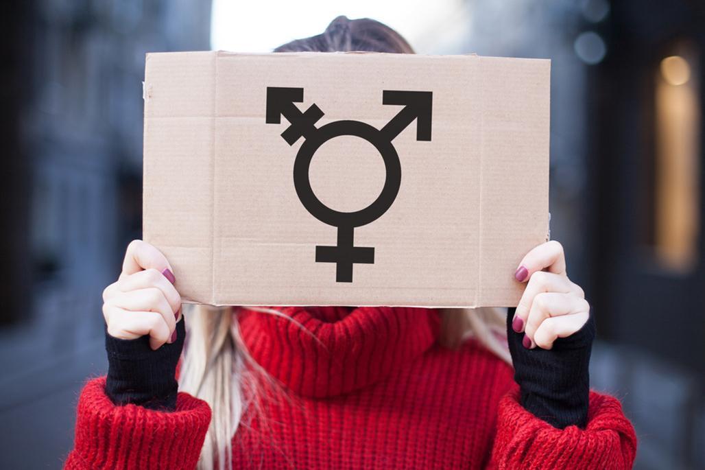 Cardboard transgender symbol