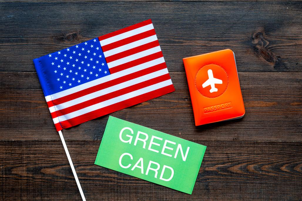 American flag and green card
