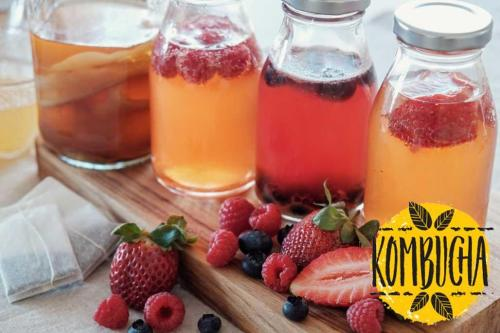 Kombucha tea drinks in jars