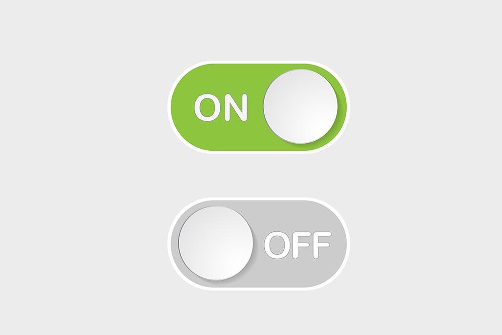 On and off buttons