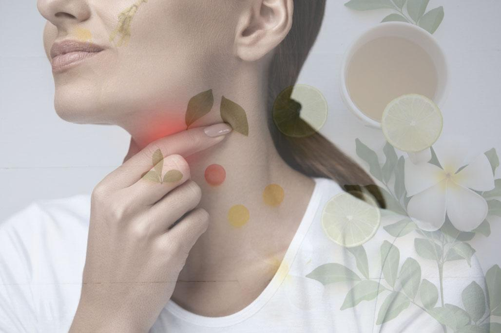 Woman sore throat with herbs