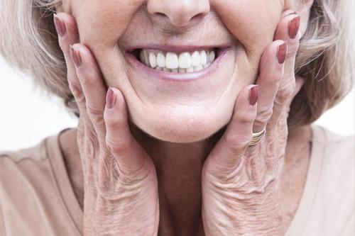 Older woman with dentures