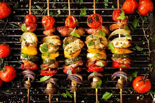 Chicken vegetable bbq skewers