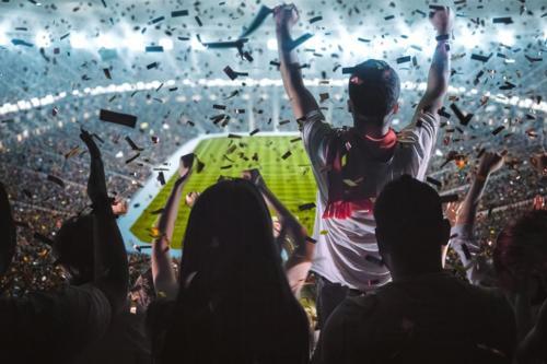 Soccer fan cheering