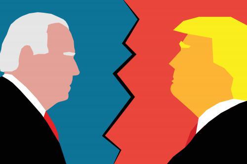 Donald Trump and Joe Biden facing off