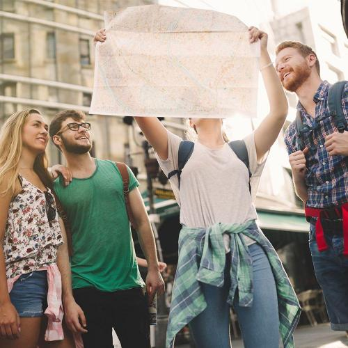 Tourists using map