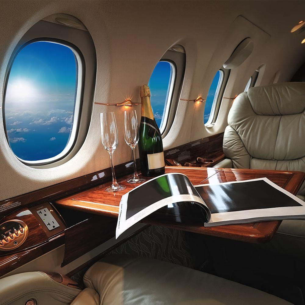 Private jet flying