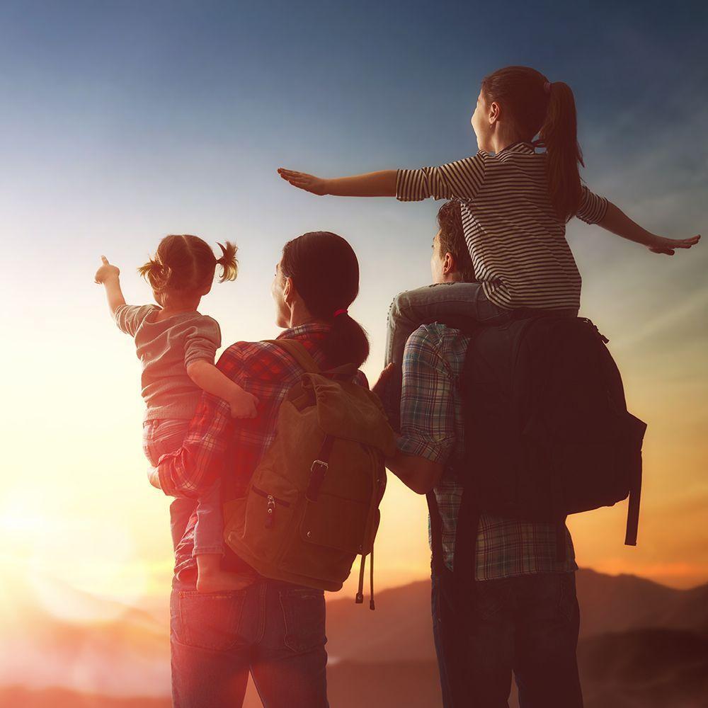 Family sunset hiking
