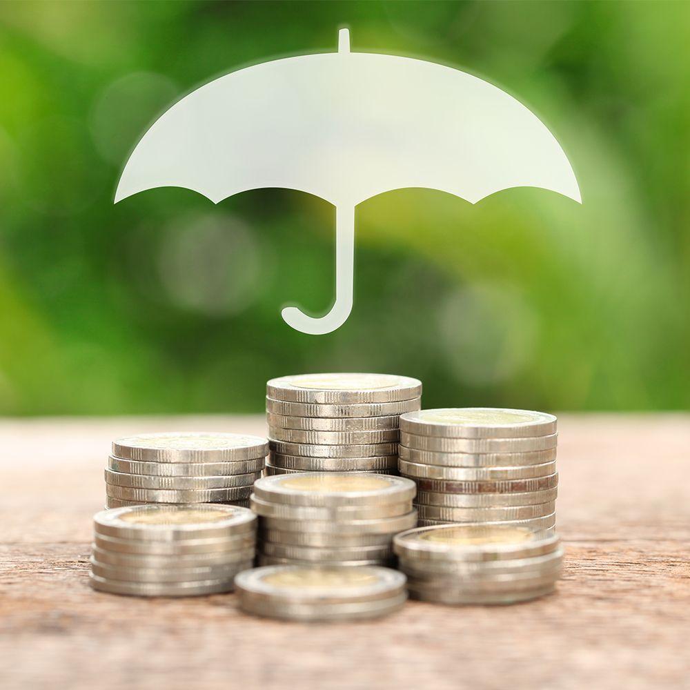 Umprella protecting coins