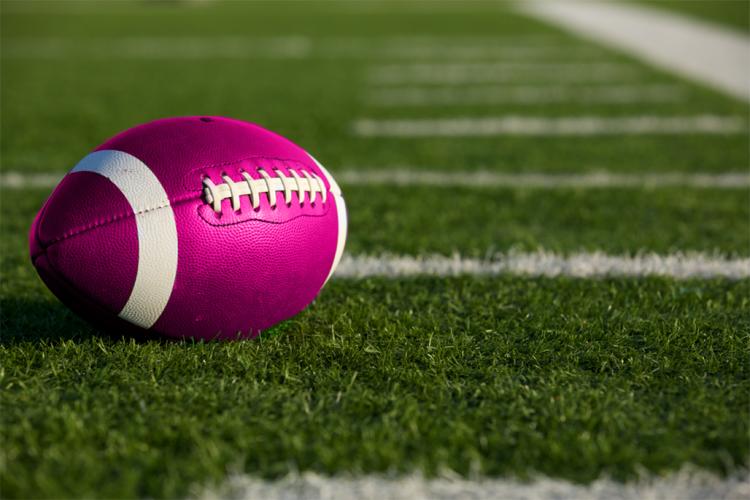 Pink Football on Football Field
