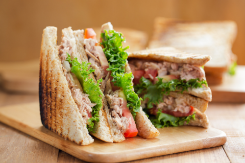 Healthy Tuna Sandwich On Wooden Board
